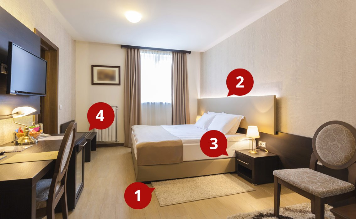 Hotel Room with number points in red pointing to different spots in the room.